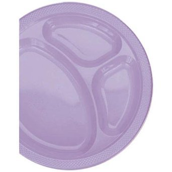 Amscan Lavender Divided Plastic Plates | 10.25'' | Party Supply | 200 ct.
