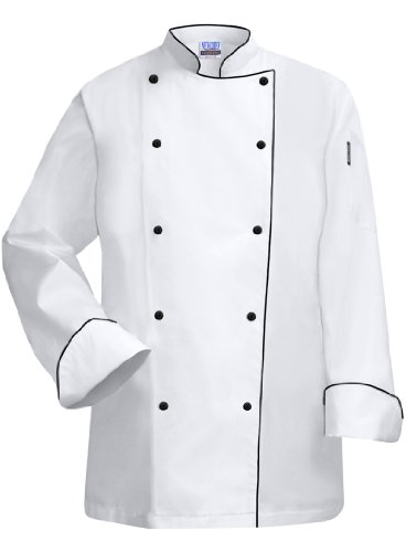 Newchef Fashion White Lady Chef Coat with Black Trim S White by Newchef Fashion