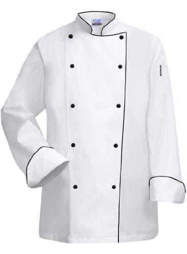 Newchef Fashion White Lady Chef Coat with Black Trim XS White by Newchef Fashion
