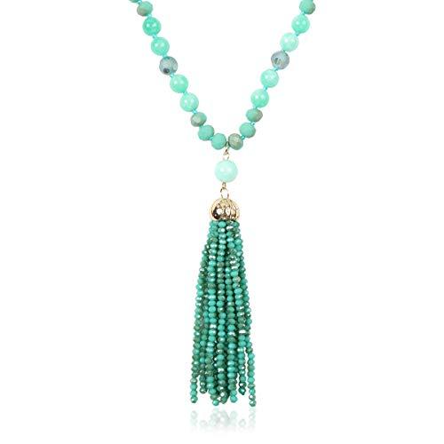 RIAH FASHION Bohemian Pendant Beaded Long Statement Necklace - Sparkly Crystal Bead Boho Teardrop, Natural Stone, Tassel Charm Wrap Lariat (Beaded Tassel - Mint) - Mint Beaded Necklace