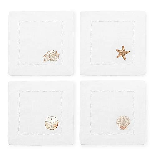 Sferra Beachcomber Embroidered Cocktail Napkins (6'' x 6'') - Set of 4 by SFERRA