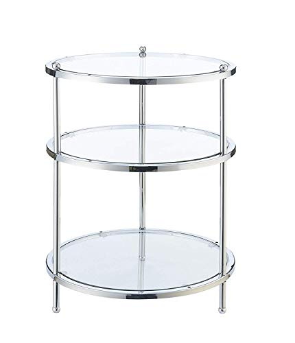 Convenience Concepts Royal Crest Round End Table, Clear Glass/Chrome Frame