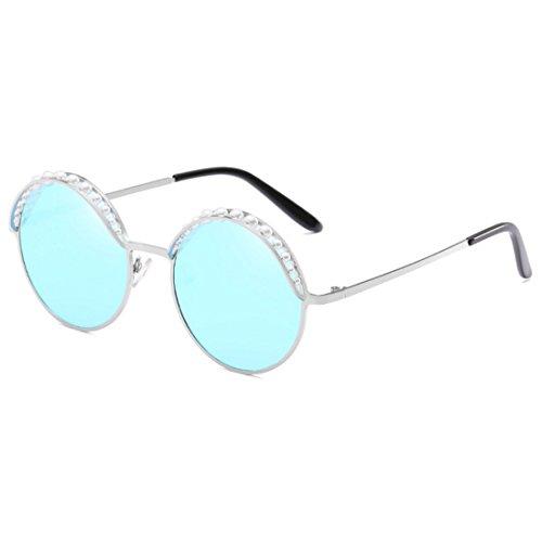 Aiweijia Soleil Ronde Femmes Bleu MétalFrame Lunettes Argent Vintage Mode Rond de Perle UV400 Ombres BxXBqrE
