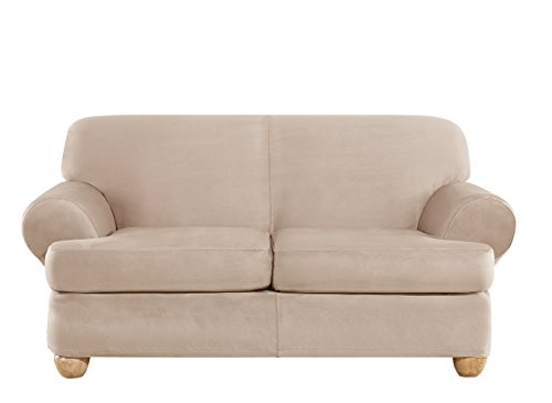 Sure Fit Ultimate Heavyweight Stretch Suede Individual 2 Piece T-Cushion Loveseat Slipcover - Cement (Soft Fit Sure Sofa Suede)