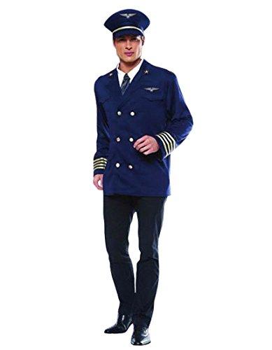 Airline Pilot Costume, Captain, Flight Attendant, Dress up, Size L Navy]()