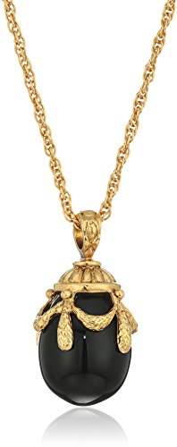 Black Onyx Gold Pendant - 1928 Jewelry 14k Gold Dipped Semi Precious Gemstone Black Onyx Egg Pendant Necklace, 30