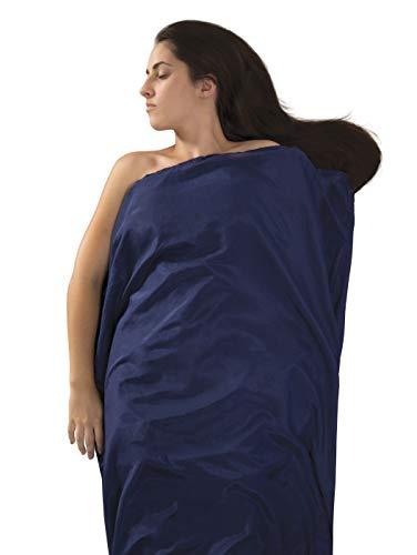 (Sea to Summit Premium Blend Silk/Cotton Rectangular Standard Travel Liner, 73 x 36 inch , Navy Blue)