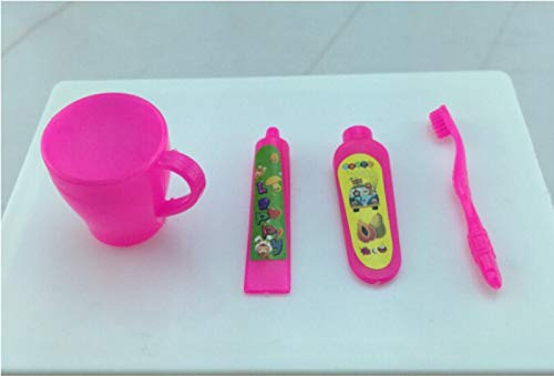 Chelsea Toothbrush Holder - Suction Tube - Wholesale 4 Pcs Set Rose Fuchsia Toothpaste Tube Toothbrush Bathroom Kid Gifts - Accessories Chelsea Bathroom Dolls Accessories Oxygen Suction Tube Lipstick Empty Gloss Pum