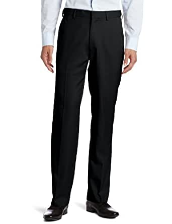 Haggar Men's Flex Gab Plain Front Expandable Waistband Straight Fit Dress Pant, Black, 32x30