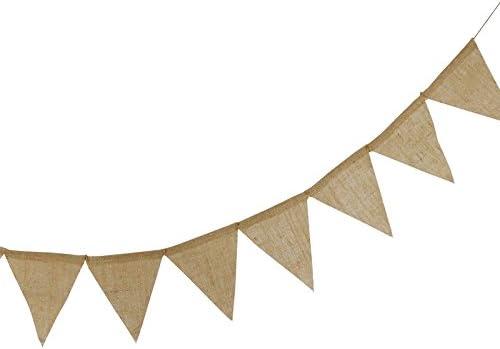 3.7M Bandera de arpillera de 11 m 48 Piezas de banderines de Lino r/ústico guirnaldas de arpillera Natural para decoraci/ón de Bodas y Fiestas G2PLUS