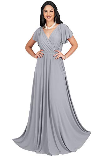 KOH KOH Womens Long V-Neck Sleeveless Flowy Prom Evening Wedding Party Guest Bridesmaid Bridal Formal Cocktail Summer Floor-Length Gown Gowns Maxi Dress Dresses, Light Slate Gray L 12-14 47 Chest 37 Sleeve