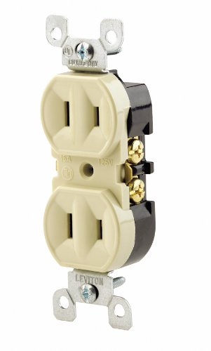 2 Prong Outlet (Leviton 223-I 15 Amp, 125 Volt, Duplex Receptacle, Residential Grade, Non-Grounded, Ivory)
