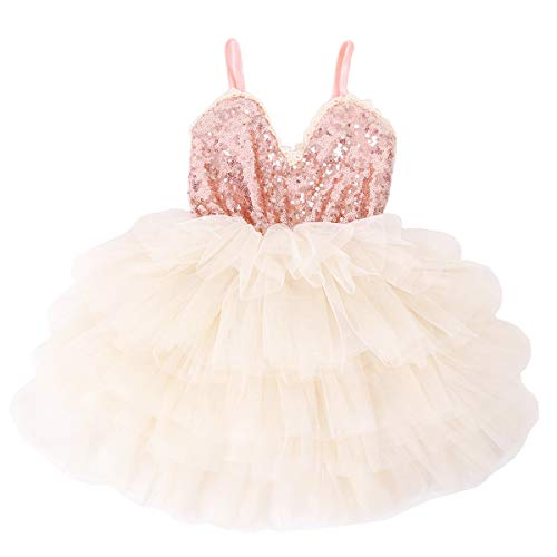 Cilucu Girls Dress Toddler Kids Party Dress Sequin Tutu Pageant Lace Dresses Gown for Flower Girl Baby Rose Gold Off White 2T-3T