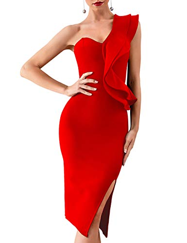 Whoinshop Women's One Shoulder Side Split Celebrity Cocktail Party Bandage Dress Red S ()
