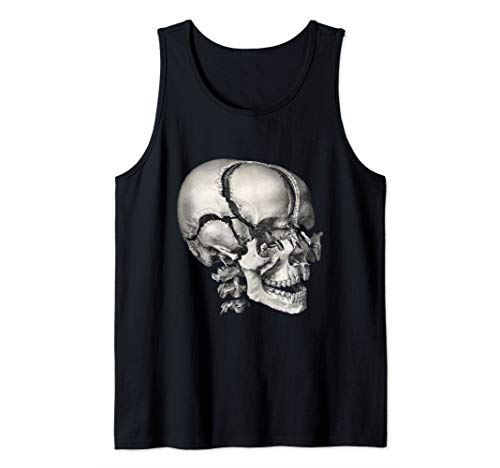(Vintage Human Anatomy Skeleton Skull and Head Bones Tank Top)