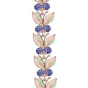 QP joailliers naturel Opale Tanzanite & Bracelet En Or Rose 9carats, 10,50-Coupe Marquise-2632r