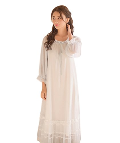 Joygown Women's Long Sheer Vintage Victorian Nightgown with Sleeves,Light Blue
