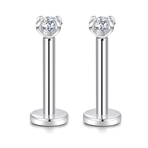 GAGABODY G23 Titanium 16G 3mm Clear CZ Internally Threaded Labret Helix Cartilage Tragus Monroe Lip Studs Earring Piercing 8mm