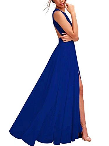 Abendkleid Spitze Chiffon Langes Blau Ausschnitt Elegantes V Aiyana qXwYvHq