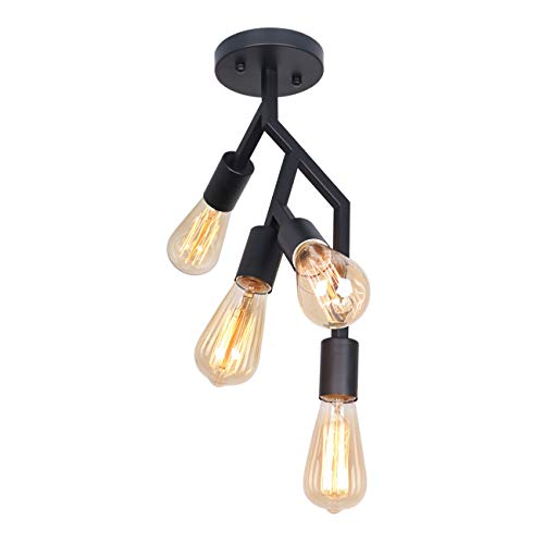 Unitary Brand Art Deco Black Metal Decoration Semi Flush Mount Ceiling Light with 4 E26 Bulb Sockets 160W Painted Finish
