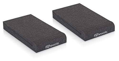 Gator Frameworks Acoustic Foam Isolation Pads for Small Studio Monitors, Fits Most Speaker Stands, Desktops and Bookshelfs; 2-Pack (GFW-ISOPAD-SM)