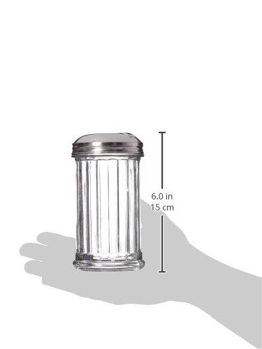 Update International Retro Style Sugar Dispenser/Pourer/Shaker, Glass Jar, Stainless Steel Pour-Flap Lid, 12 oz, Set of 2 by Update International (Image #2)