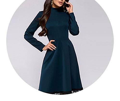 d86ca4e4179599 Women Vintage Lace Edge Dress Fashion Long Sleeve O Neck