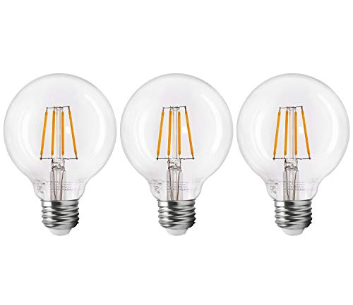 TORCHSTAR Dimmable LED G25 Vintage Filament Light Bulb, 4.5W (40W Equiv.), 2700K Soft White, Vintage Edison Style, E26 Medium Base, 2 Years Warranty, Pack of 3