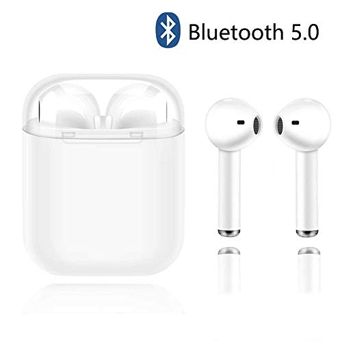 TWS-i8x Bluetooth Headphones Wireless Earbuds Stereo Earphones Cordless Sports Headsets Compatible with iPhone XMAS/XR/X/8/7/6/6s Plus and Samsung Galaxy S7 S8 S9 Plus and Android Smart Phones-White