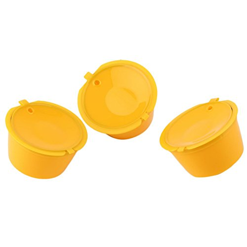 Hand grinder,longdelaY6 3Pcs Refillable Pod Cup Coffee Capsule Stainless Steel Filter for Dolce Gusto - Yellow