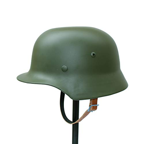 (ANQIAO WW2 WWII German Soldier M35 Helmet Steel Material M1935 Stahlhelm Black/Green Color (Green))