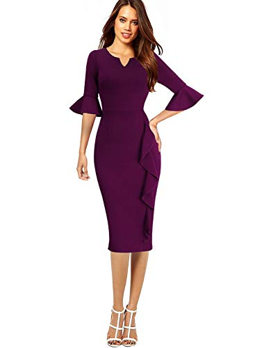 VFSHOW Womens Dark Fuchsia Bell Sleeves Ruffles Cocktail Work Business Party Sheath Dress 2651 PUP XL ()