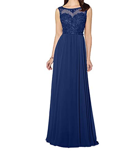 Abendkleider Blau Dunkel Damen Chiffon Promkleider Partykleider Festlichkleider Dunkel Lang Blau Charmant gIqzvwg