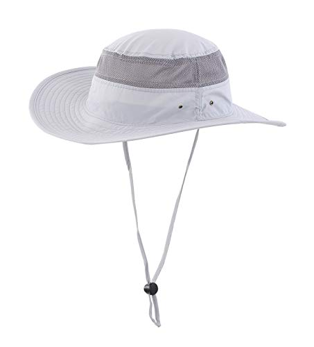 Home Prefer Unisex Daily Outdoor Sun Hat Camouflage Mesh Bucket Hat Wide Brim Boonie Fishing Hats Grey