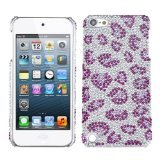 Asmyna Leopard Skin/Purple Diamante Back Protector Cover for iPod touch 5