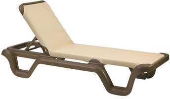 Adjustable Chaise Khaki - Grosfillex Marina Sling Chaise Lounge - US414137 (2 pack)