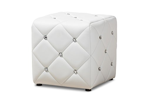 Baxton Studio 424-8148-AMZ Anabelle Modern and Contemporary Faux Leather Upholstered Ottoman, White