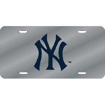 Ny Yankees Plate (New York Yankees Deluxe Silver Mirrored Laser Cut License Plate)