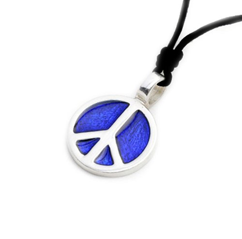 Vietsbay Blue Peace sign Silver Pewter Charm Necklace Pendant Jewelry ()
