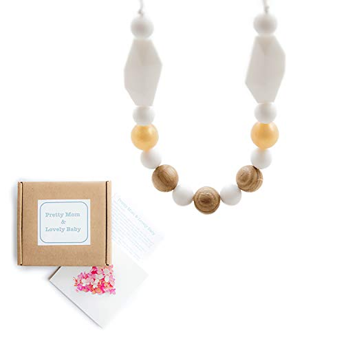 'Oak Beads' New Teething Necklace, Gift Box & Greeting Card; Natural Organic Oak Wood & Silicone Beads Jewelry - White ()
