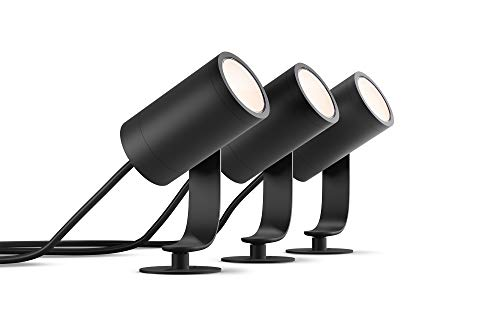 Philips Hue Lily Tuinspot 3-Lichts Basis Set – Buitenlamp – IP65 – Duurzame LED Verlichting – Wit en Gekleurd Licht…