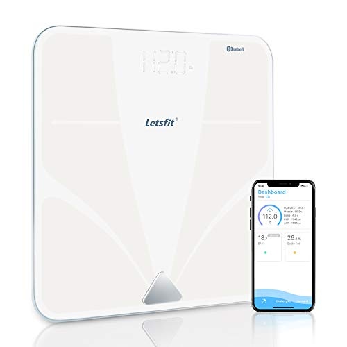 - Bluetooth Body Fat Scale, Letsfit Smart Wireless Digital Bathroom Weight Scale, Body Composition Analyzer, Free APP for Body Weight, Fat, Water, BMI, Muscle, Bone, 400lb ...