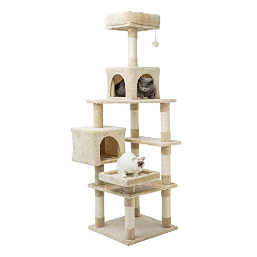 MEWANG 64 inches Cat Tree Tower Kitten Activity Tree Cat Climbing House Play Condos with Large Perches, Interactive Toys and Sisal Scratching Post