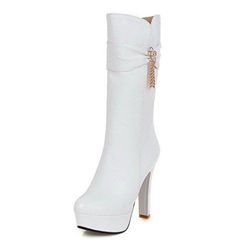 AgooLar Damen Rein Hoher Absatz Rund Zehe Reißverschluss Stiefel, Weiß, 37