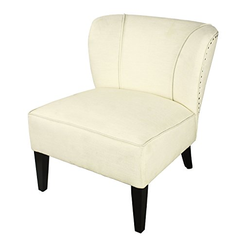 Living Room Club Chair, Home's Arts upholstered Fabric Tufted Arm Chair (White)