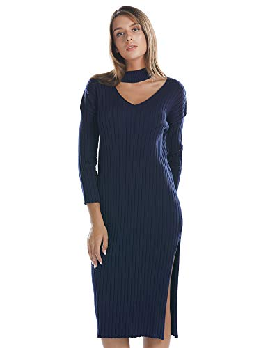 - BARGOOS Women Keyhole Bodycon Halter V Neck Long Sleeves Chunky Choker Ribbed Midi Sweater Dress Navy Medium