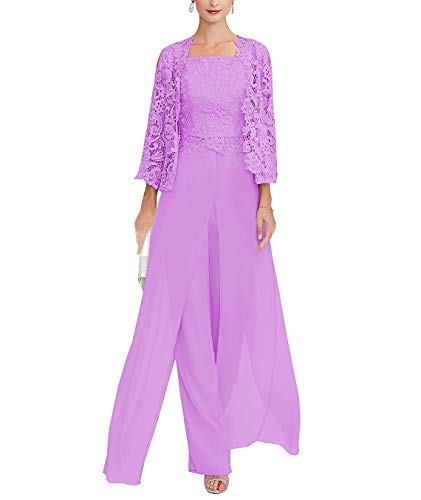 tutu.vivi Women's 3 Pieces Lace Mother of The Bride Dresses Chiffon Pant Suits with Long Sleeves Jacket 2019 Lilac Size22W