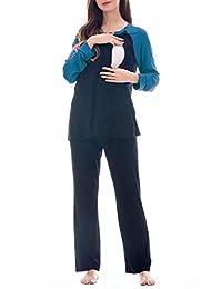 Smallshow Women's Maternity Nursing Pajamas Set 2 Pcs Breastfeeding Top and Pant Pjs