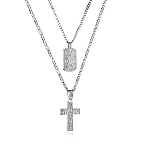 Tag Dog Cross Pendant - HZMAN Mens Two Piece Gold Cross & Iced Out Dog Tag Cz Inlay Pendant Necklace Hip Hop 22