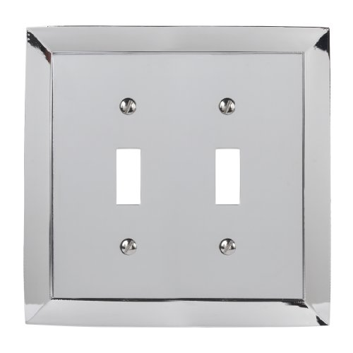 Double Chrome Plate (Amerelle 61TTCH Studio Style 2 Toggle Wallplate, Chrome)